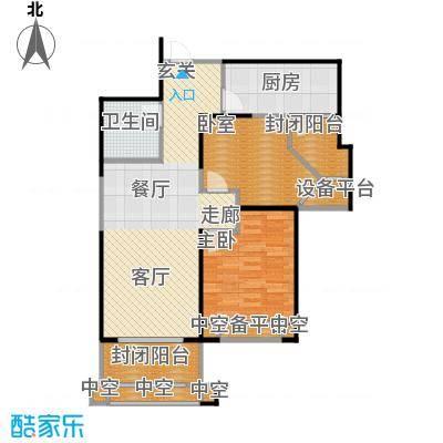 天津碧桂园90.00㎡J81 C户型2室2厅1卫