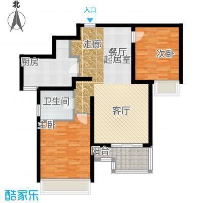 万科金域缇香90.00㎡A2户型建筑面积90平户型2室2厅1卫