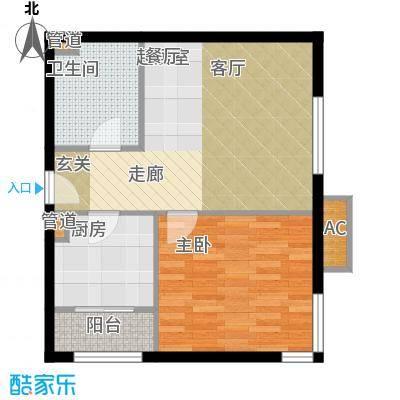 碧玉家园一期一室一厅一卫-53.83平米户型