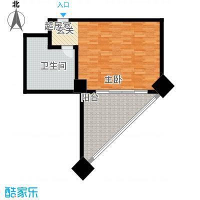 三亚国际公寓64.37㎡一室一卫户型