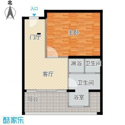 三亚湾红树林度假世界81.40㎡7号楼 一室一厅一卫户型1室1厅1卫