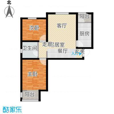 弘泽城90.00㎡2号楼户型2室2厅1卫