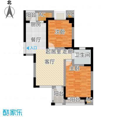 福渔园枫尚河院89.82㎡2-6-10-14层房型C图户型2室2厅1卫