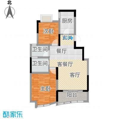 世纪东山88.87㎡B3型户型2室1厅2卫1厨