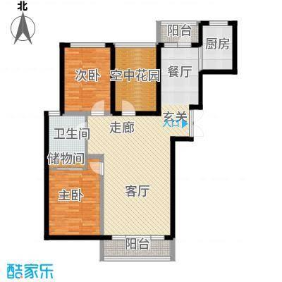 万城华府107.00㎡两室两厅一卫户型