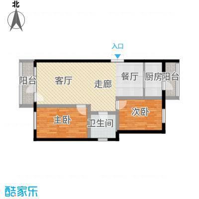 万城华府92.00㎡两室两厅一卫户型