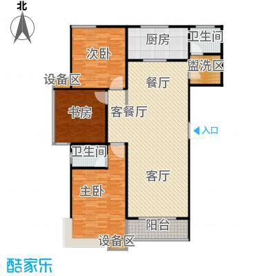 滨河雅园139.30㎡5号楼A1户型 三室两厅两卫户型3室2厅2卫