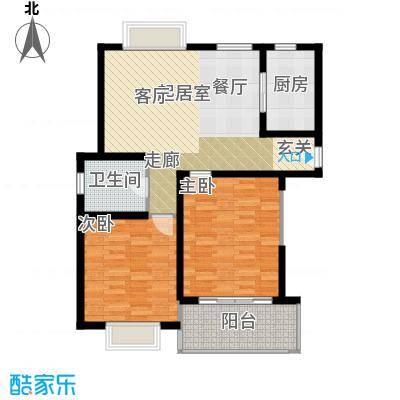 明中龙祥家园90.00㎡2室2厅1卫户型