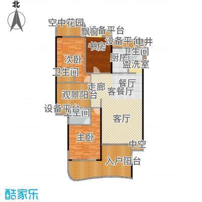 金信凤凰花园1栋1梯奇数层02户型3室1厅3卫1厨