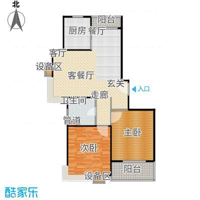 上海源花城105.28㎡E2户型 2房2厅1卫 105.28㎡户型2室2厅1卫