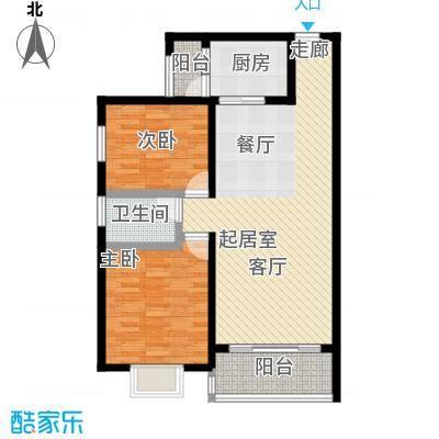 中原国际时代皇庭户型2室1卫1厨