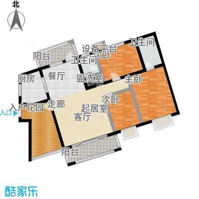 中原国际时代皇庭户型3室2卫1厨
