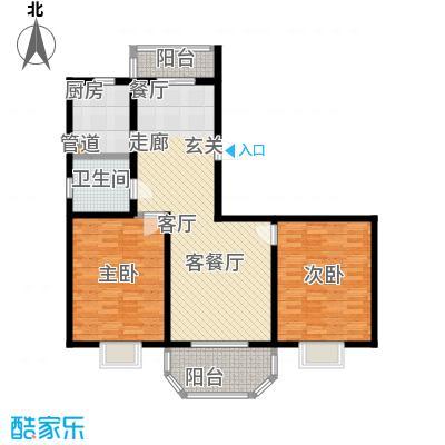 上泰绅苑104.46平方米二室户型