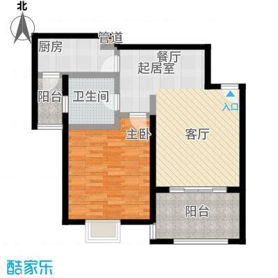 盛源家豪城1室2厅1卫76㎡户型