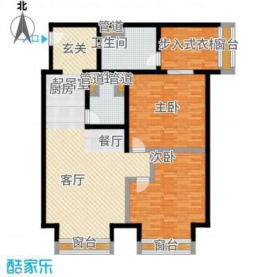 中心铂庭二房二厅二卫面积约97平户型