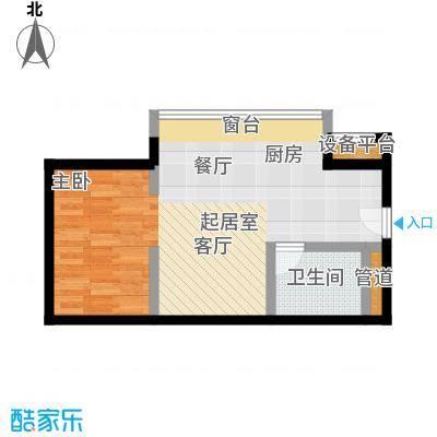 中心铂庭一房两厅一卫面积约46平户型