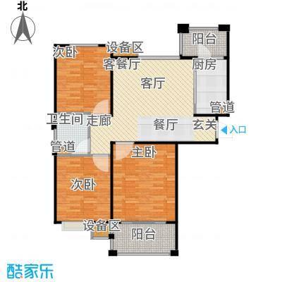 富顿街区12号A型2+1房型,面积93平方左右户型