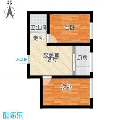锦绣家园57.90㎡二室一厅一卫 57.9平米户型2室1厅1卫