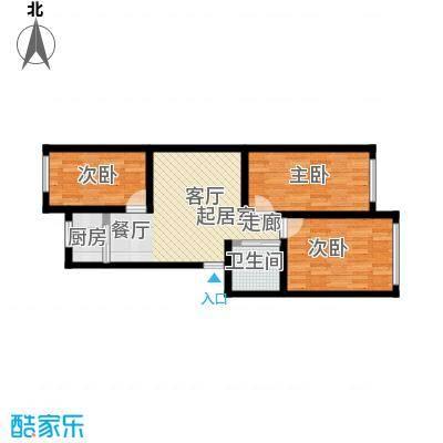 锦绣家园78.66㎡三室二厅一卫 78.66平米户型3室2厅1卫