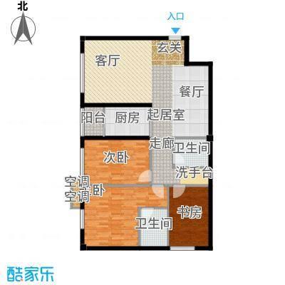鑫源银座C号楼F户型 三室两厅双卫 约119.99平米户型