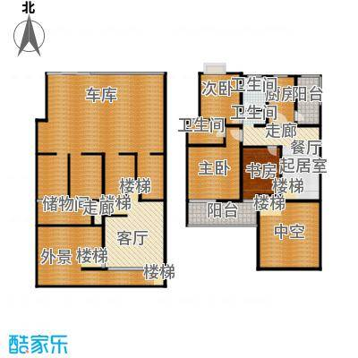 新世纪绿树湾135.00㎡位于21号楼、23号楼、25号楼、27号楼、29号楼、31号楼的一层二层户型3室1厅2卫1厨