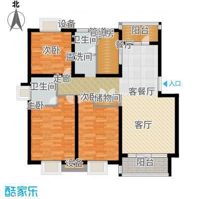 泰宸舒庭116.71㎡房型: 三房; 面积段: 116.71 -133.4 平方米;户型