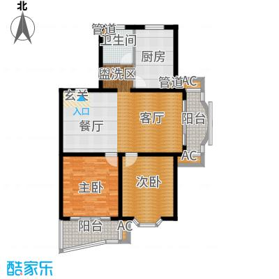 梦家园106.00㎡房型: 二房; 面积段: 106 -110 平方米;户型