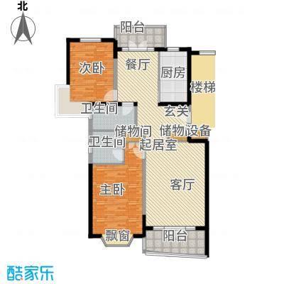 名江七星城房型户型2室2卫1厨