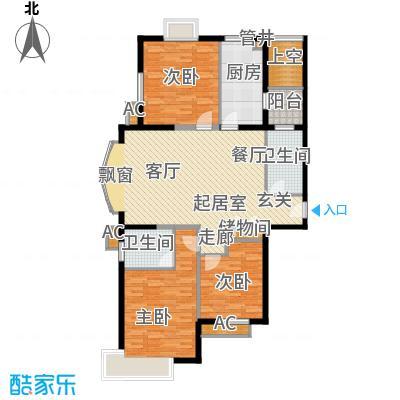 虹口现代公寓房型户型3室2卫1厨