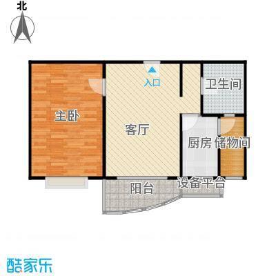 和润家园二期房型户型1室1厅1卫1厨