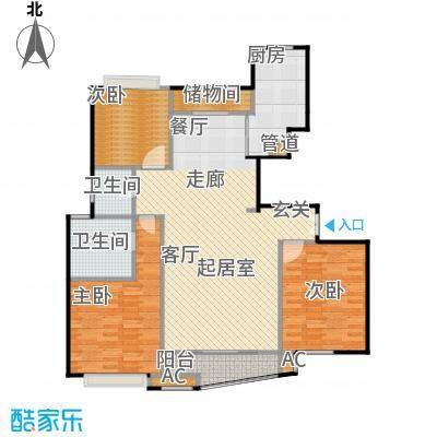 大上海国际花园二期房型户型3室2卫1厨