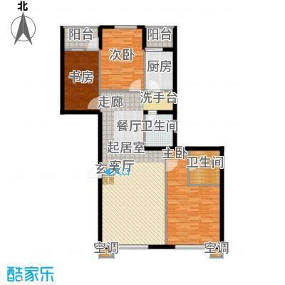 鑫源银座C号楼B户型 三室两厅双卫 约126.85平米户型
