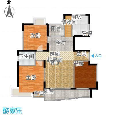 蔚蓝城市花园房型户型3室1卫1厨