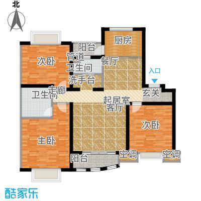 上海阳城房型户型3室2卫1厨