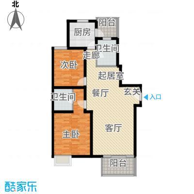 龙柏香榭苑房型户型2室2卫1厨