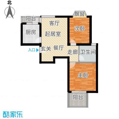 龙柏香榭苑房型户型2室1卫1厨