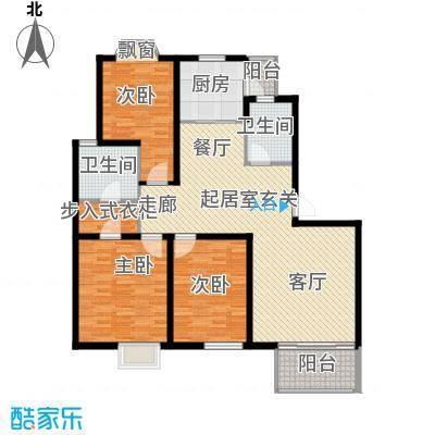 龙柏香榭苑房型户型3室2卫1厨