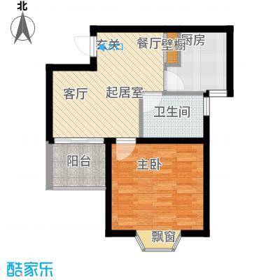 龙柏香榭苑房型户型1室1卫1厨