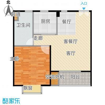 鹏欣一品漫城二期一房一厅一卫,面积约66平方米户型