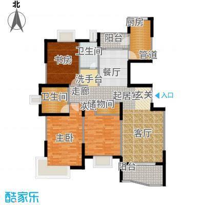 蔚蓝城市花园房型户型3室2卫1厨