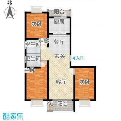 锦绣花木公寓130.00㎡房型: 三房; 面积段: 130 -140 平方米; 户型