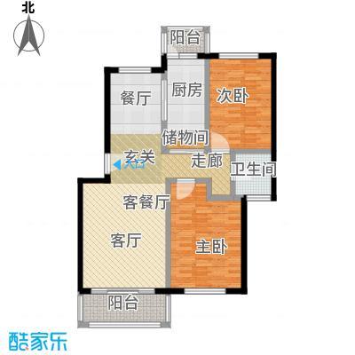 贝越高行馨苑99.00㎡房型: 二房; 面积段: 99 -102 平方米; 户型