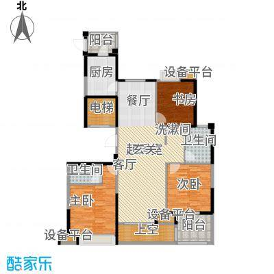 昆承湖国际花园户型3室2卫1厨