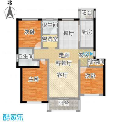 贝越高行馨苑114.00㎡房型: 三房; 面积段: 114 -126 平方米;户型