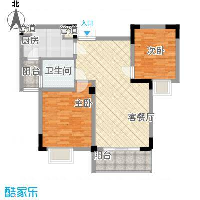 银领时代84.00㎡银领时代户型图A3户型两室两厅一卫2室2厅1卫1厨户型2室2厅1卫1厨