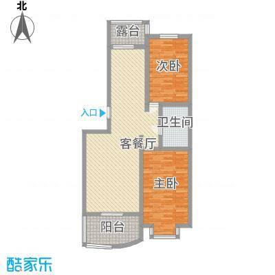龙畔金泉95.18㎡龙畔金泉户型图二期户型2室2厅1卫1厨户型2室2厅1卫1厨