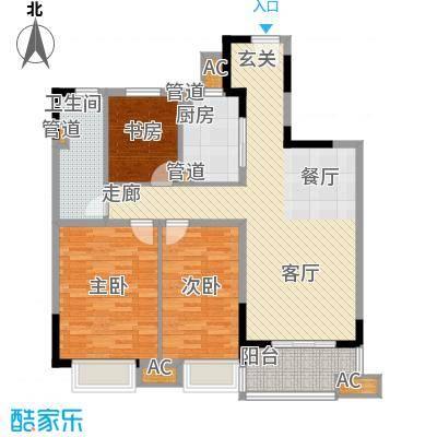 万科金域广场105.00㎡万科金域广场户型图C2户型3室2厅1卫1厨户型3室2厅1卫1厨