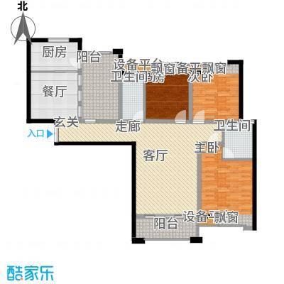 海悦国际136.21㎡海悦国际户型图1、2#B户型3室2厅2卫1厨户型3室2厅2卫1厨