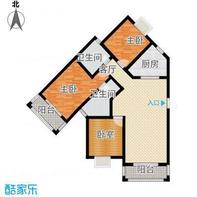 恒盛泰晤士印象127.00㎡7、8#楼D5户型2室1厅2卫1厨