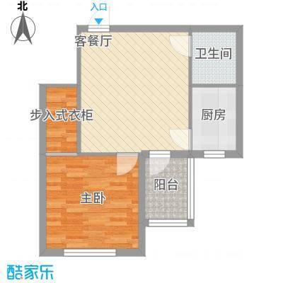 圣苑山水59.10㎡户型1室1厅1卫1厨